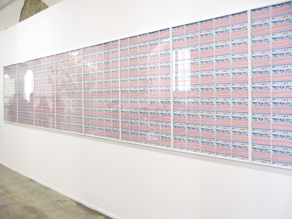 Claude Closky, 'Lotto,' 2004-2008, black ball point pen lottery grids, 124 x 1680 cm.