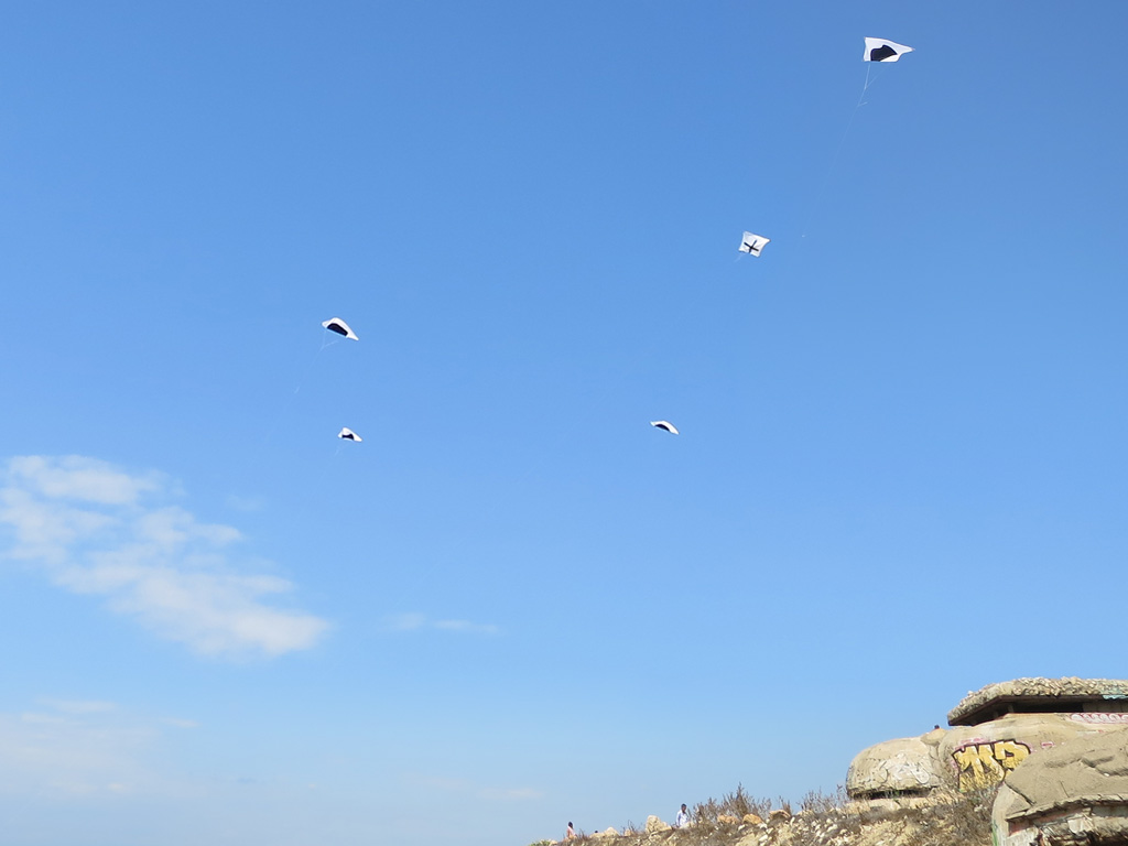 Claude Closky, 'Multiplication,' 2019, 5 kites, dimensions variable.