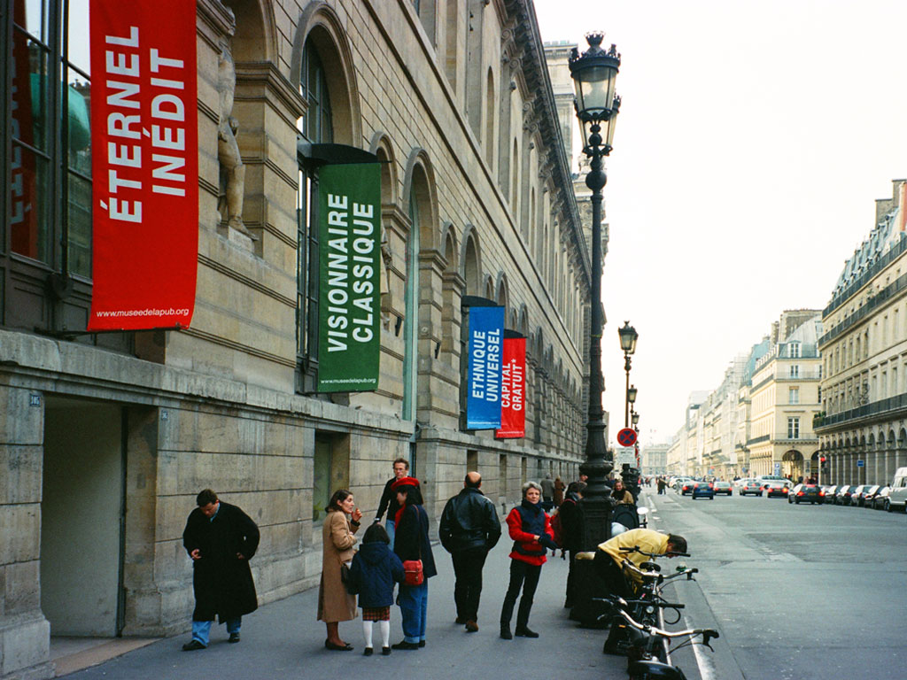 Claude Closky, 'New-Authentic (Nouveau-Authentique)', 1999, 9 banners hung on Rivoli street,  Paris, 300 x 100 cm each.