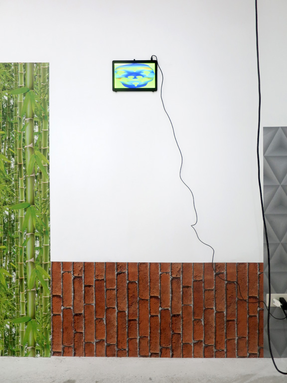 Claude Closky, 'Notification,' 2018, 7 pads, 40 usb power cables for smartphones and pads available to the public, color wallpaper pasted on the room walls, 280 x 1332 x 1122 cm, unlimited duration.