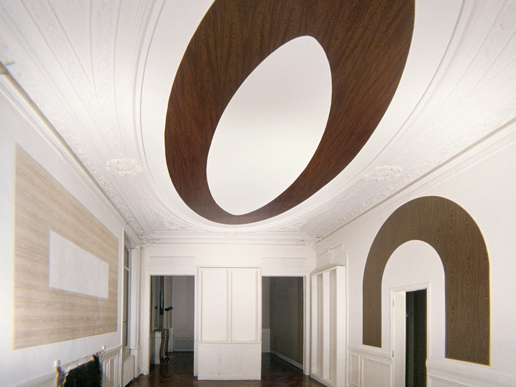 Claude Closky, 'Oval, Rectangle and Reversed U,' 1989, insitu installation, fake wood vinyl, dimensions variable. Exhibition view Espace Barres, Paris
