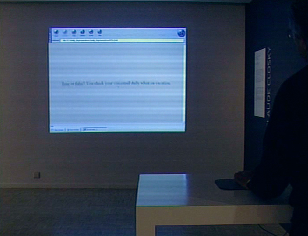 "Claude Closky, 'Do you want love or lust?,' 1997, commissioned by Lynne Cooke for the Dia Art Foundation. Producer: Sara Schnittjer Tucker. Interactive web site, Html, Javascript (http://awp.diaart.org/closky). Exhibition view 'Paisatges mediàtics (Mediascape),' Fundació ""la Caixa"", Lleida. 21 September 2004 - 2 January 2005. Curated by Montse Badia, Andreas M.Kaufmann"