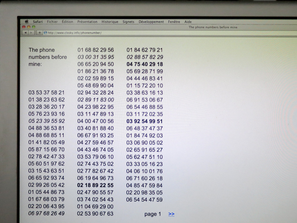 Claude Closky, 'Phone numbers before mine,' 2015, interactive web site, php programing Jean-Noël Lafargue (http://www.closky.info/phonenumber/), 5 735 612 pages.