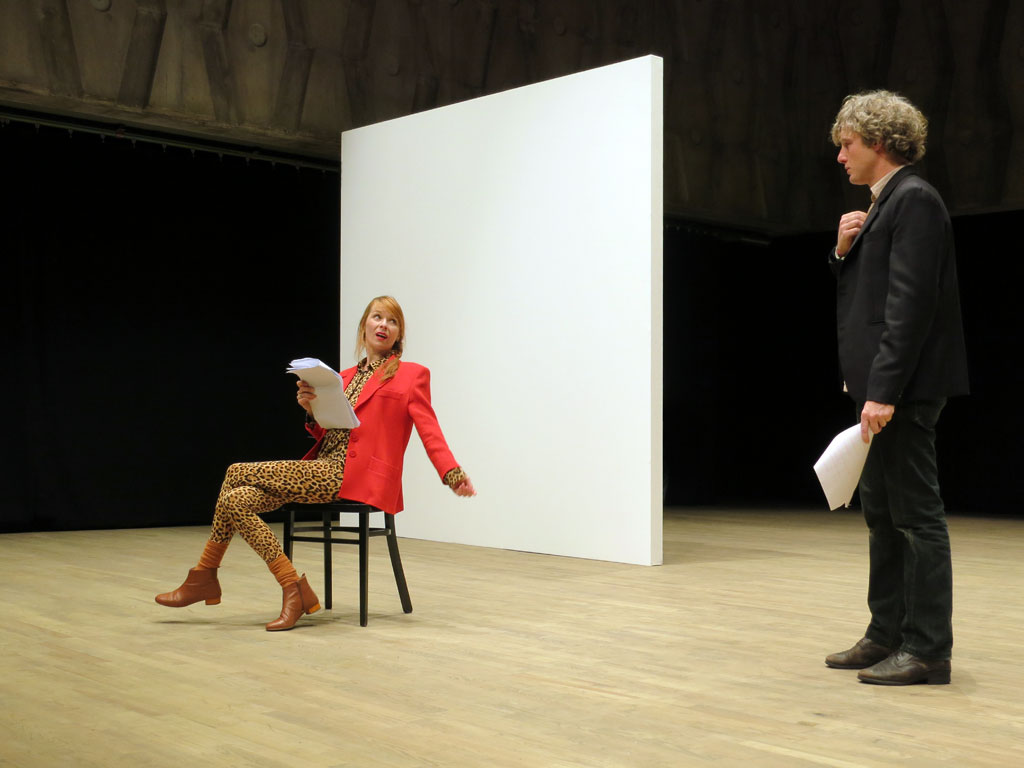 "Claude Closky, 'Private View', 2006-11, staged by Yves Lefebvre, STUK Soetezaal, Leuven, 2012, invited by Steven Vandervelden. View of excerpt 3 with Dolores Bouckaert as Jenny, Peter Connelly as Ben ""(...) much was decided before you were born (...)"". Photo Joséphine de Bère."