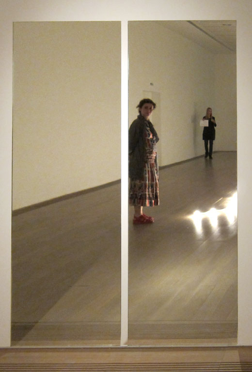 "Claude Closky, 'Selfportrait disguised as a vampire in front of Felix Gonzalez-Torres ""Untitled (Orpheus, Twice)"" mirrors at Beyeler Foundation, Basel', 2010, c print, 45 x 30,5 cm."
