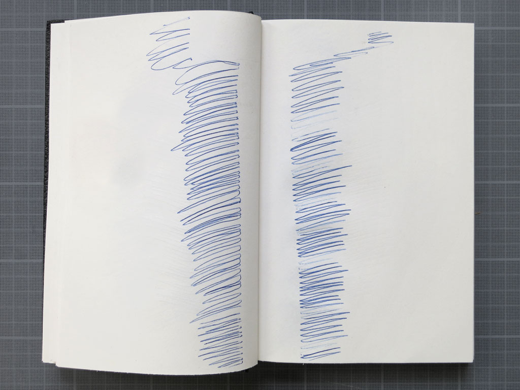 Claude Closky, 'Shampooing', 1996, blue ballpoint pen on sketch book, 200 pages, 21,5 x 14,5 cm.