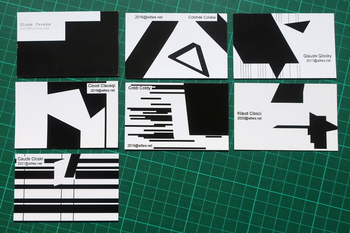 Claude Closky, 'Slode Csoke, Ccohde Ccloksi, Qlaude Qlosky, Clood Clausqi, Coldi Coldy,' 2015, business cards, offset print, 5,5 x 8,5 cm each.