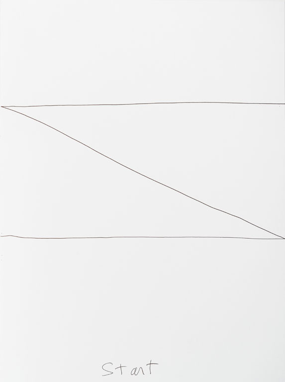 Claude Closky, 'Start, End (j)', 2013, black ballpoint pen on paper, diptych, twice 40 x 30 cm.