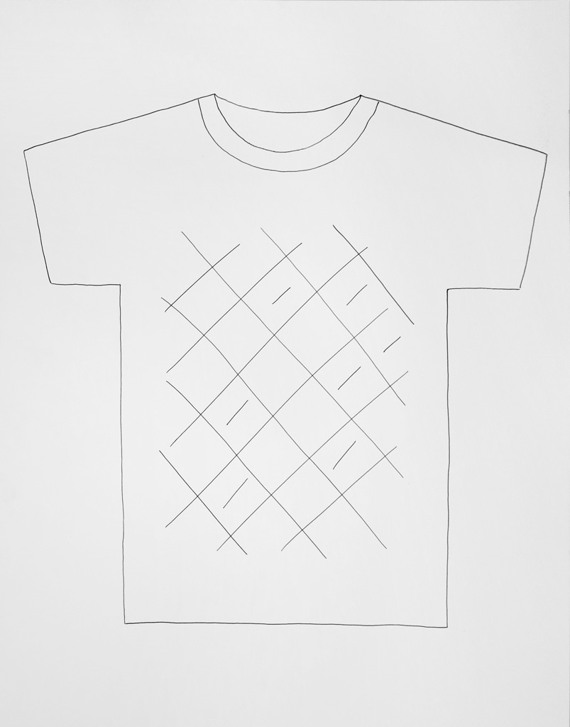 Claude Closky, 'T-shirt (1),' 2013, black ballpoint pen on paper, 51 x 70 cm.
