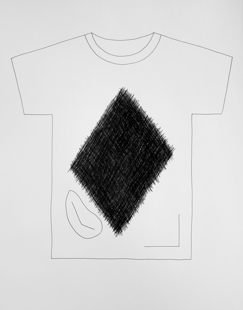 Claude Closky, 'T-shirt (10)', 2014, black ballpoint pen on paper, 51 x 70 cm.