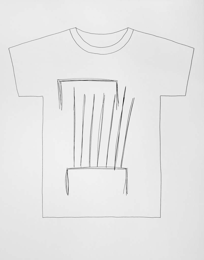 Claude Closky, 'T-shirt (8)', 2014, black ballpoint pen on paper, 51 x 70 cm.