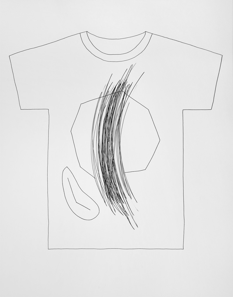 Claude Closky, 'T-shirt (9)', 2014, black ballpoint pen on paper, 51 x 70 cm.