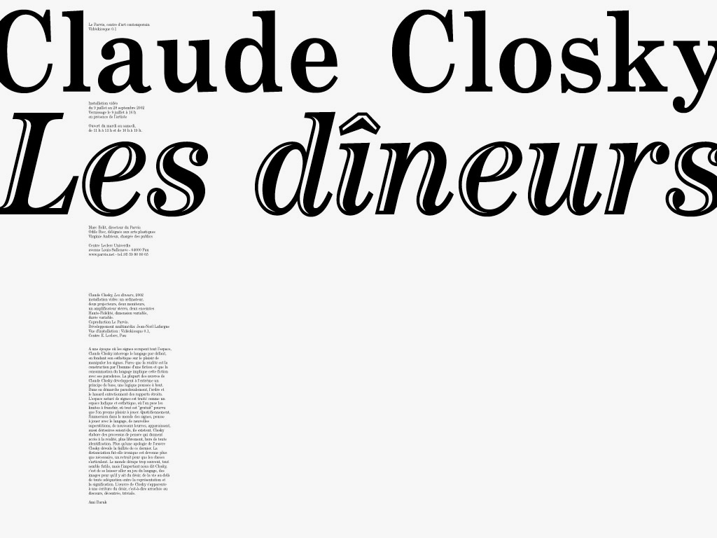 Claude Closky, 'The diners', 2002, Pau: Le Parvis, Centre d'art contemporain, invitation card, color offset, 40 x 60 cm.