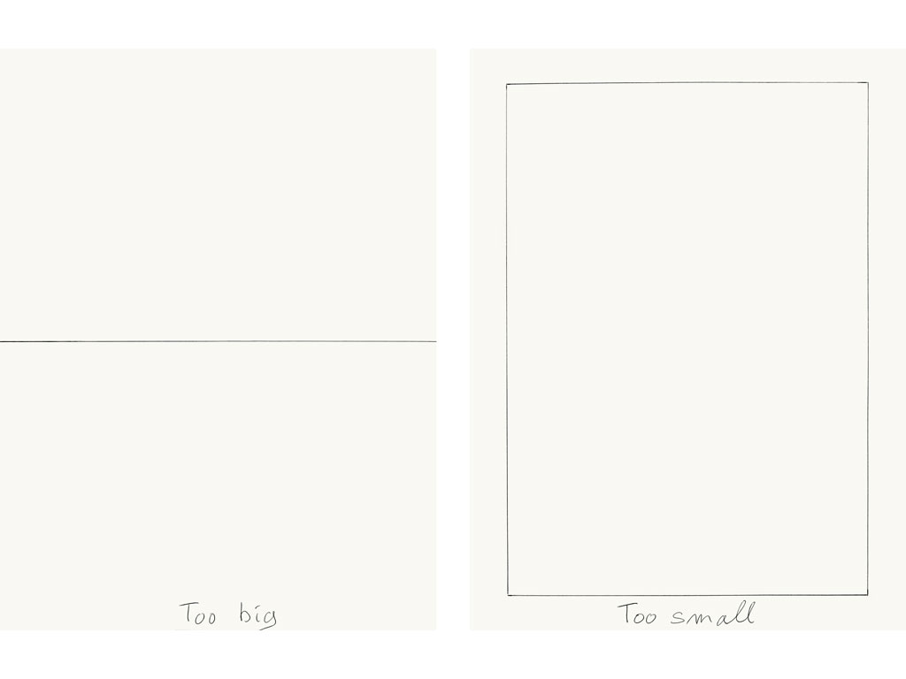 Claude Closky, 'Too Big, Too Small', 2009, black ballpoint on paper, two drawings 40 x 30 cm each.