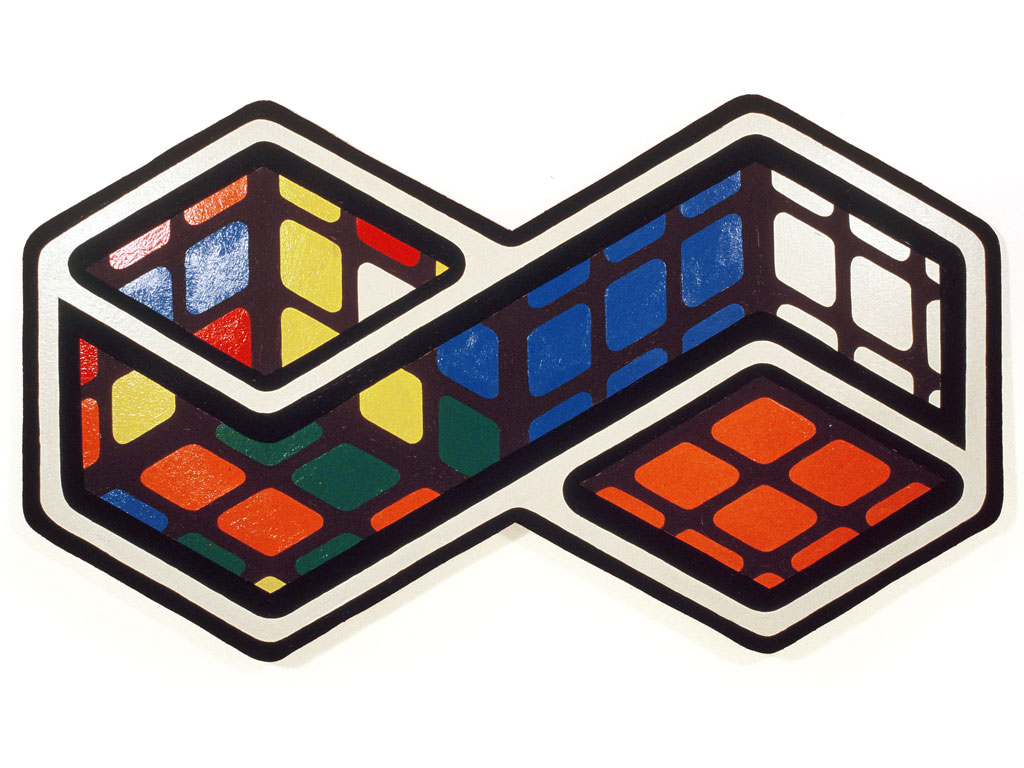 Claude Closky, 'Two Rubix Cubes,' 1987, acrylic on wood, 56 x 99 cm.