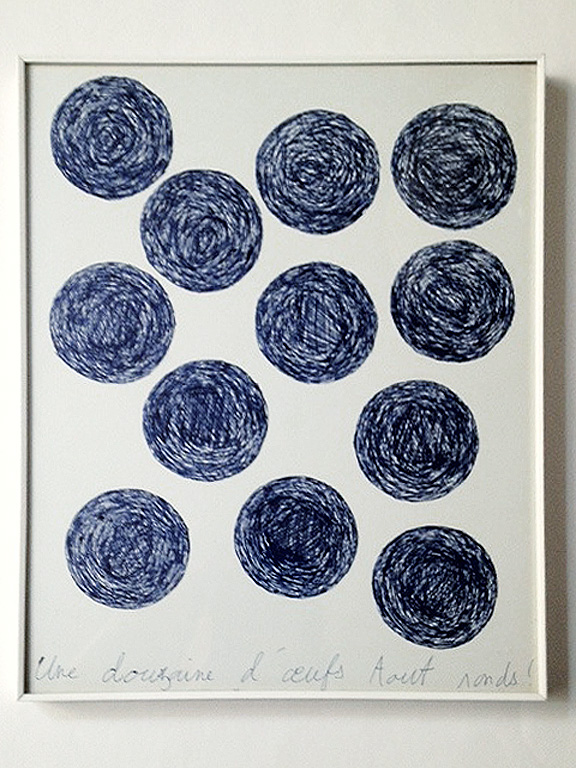 Claude Closky, 'Une douzaine d'œufs tout ronds ! [a dozen of round eggs]', 1990, ballpoint pen on paper, 30 x 24 cm.