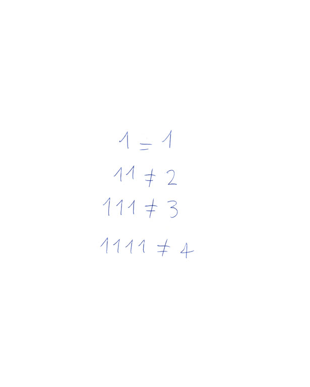 Claude Closky, 'Untitled (1=1, 11≠2)', 1992, ballpoint pen on paper, 30 x 24 cm.