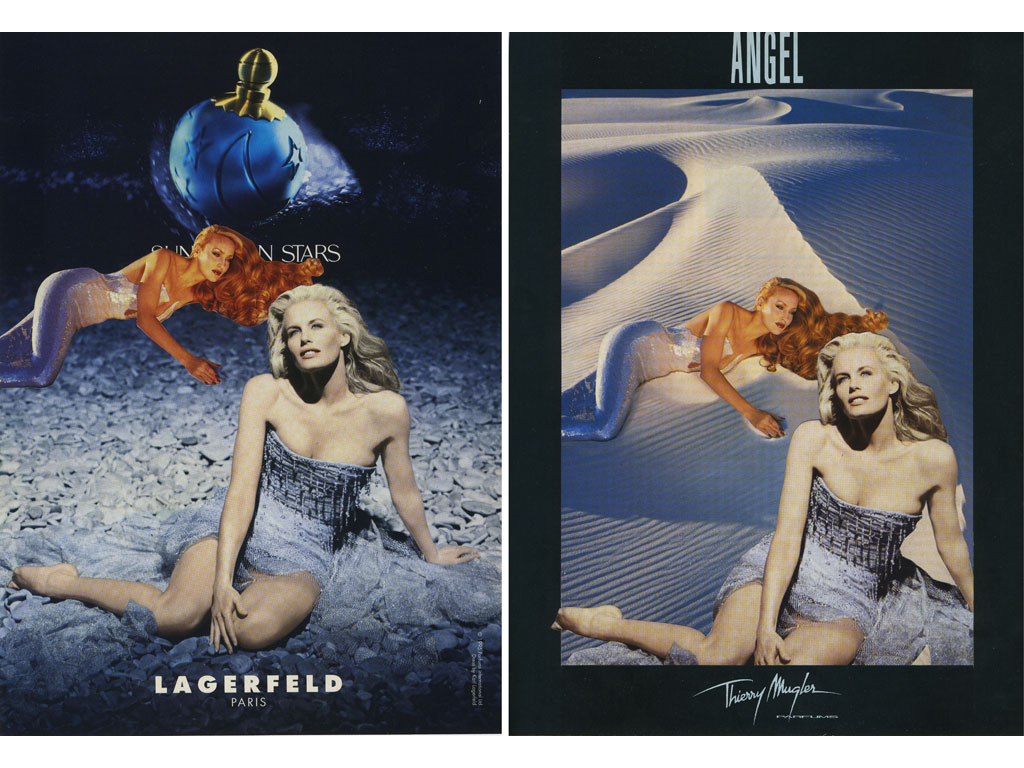 Claude Closky, 'Untitled (Lagerfeld/Thierry Muggler)', 1995, collage, diptych, twice 29,5 x 21,5 cm.
