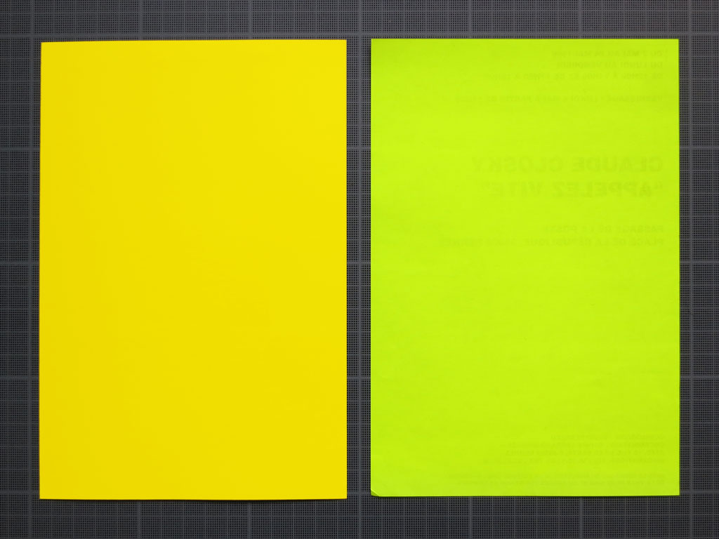 Claude Closky, 'Untitled (Yellows)', 1996, Rennes: ATC, invitation card. Color offset print, two cards 20 x 14 cm each.