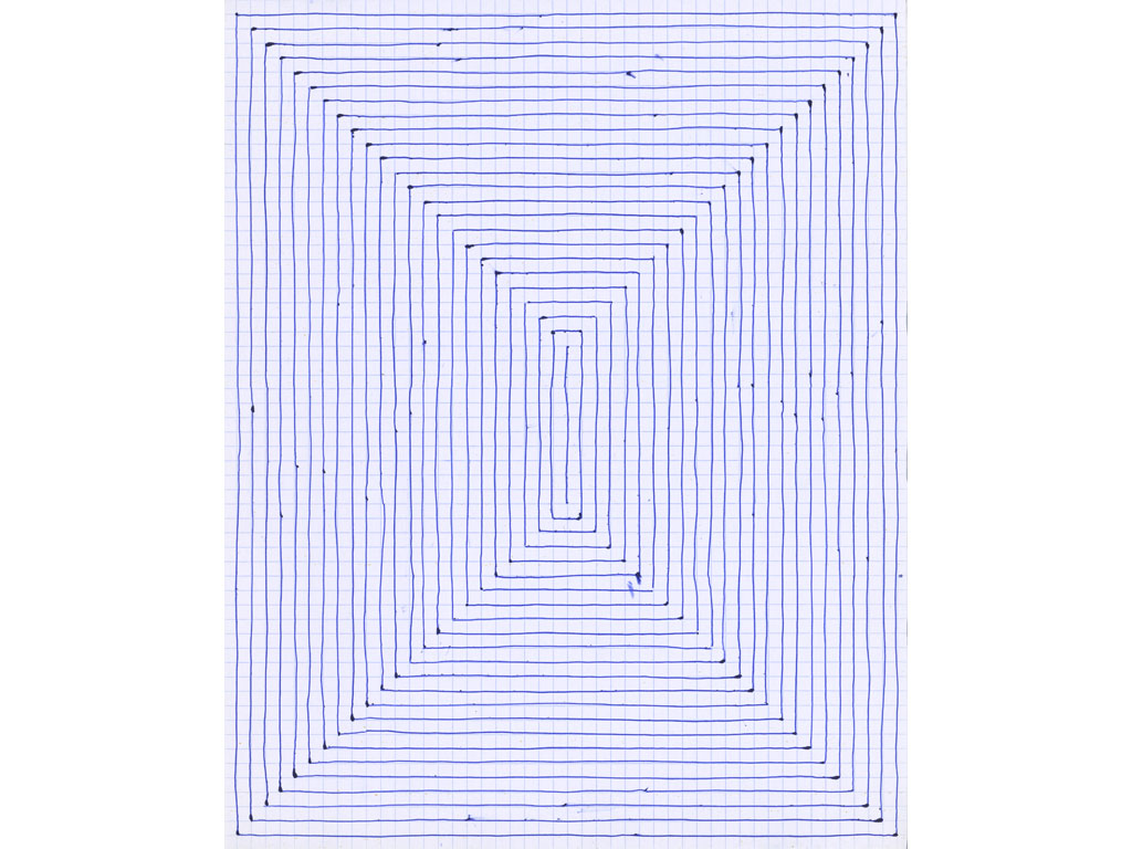 Claude Closky, 'Untitled (concentric, spiral)', 1991, blue ballpoint pen on grid paper, 2 drawings 30 x 24 cm.