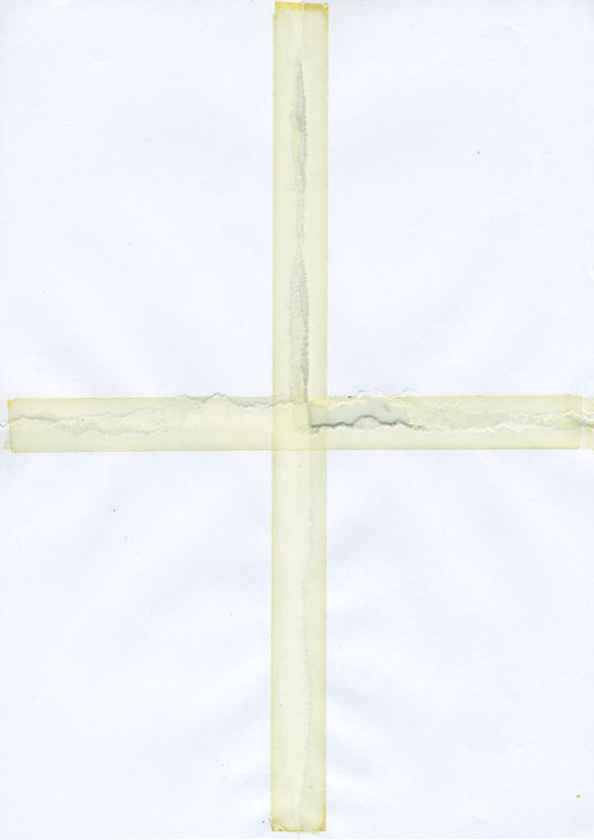 Claude Closky, 'Untitled (ripped and pasted, 4 parts) 2', 1990, paper, tape, 22 x 31 cm.