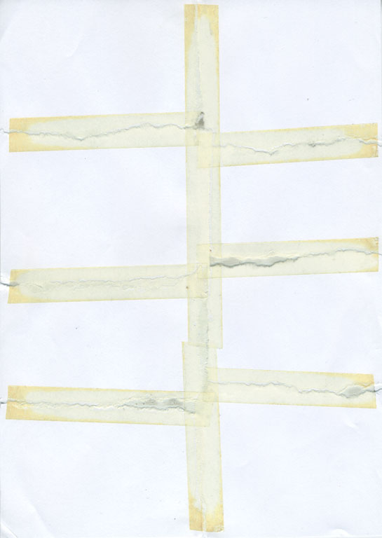 Claude Closky, 'Untitled (ripped and pasted, 8 parts)', 1990, paper, tape, 22 x 31 cm.