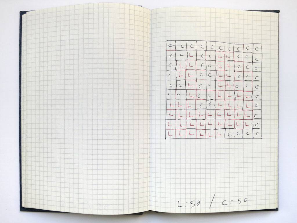 Claude Closky, 'Untitled (small squares)', 1991, blue and red ballpoint pen on notebook, 200 pages, 21 x 15 cm.