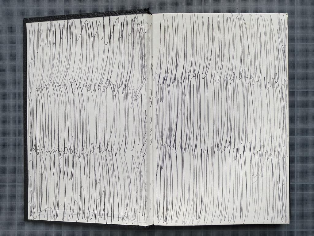 Claude Closky, 'Used Sketch Book,' 1990, ballpoint pen on sketch pad, 200 pages, 21,5 x 14,5 cm.