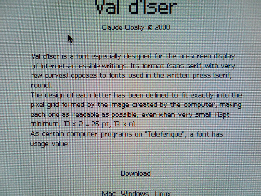 Claude Closky, 'Val d'Iser', 2000, Bitmap (Mac/PC) font, Regular, Italic.