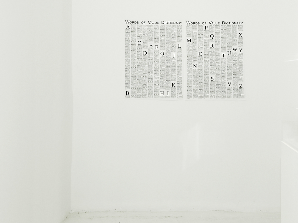 Claude Closky, 'Words of Value Dictionary,' 2011-2016, duplex black and white print, 80 x 60 cm. Exhibition view 'Space Edits,' Beirut Art Center, Beirut, 2018. Curated by Marie Muracciole