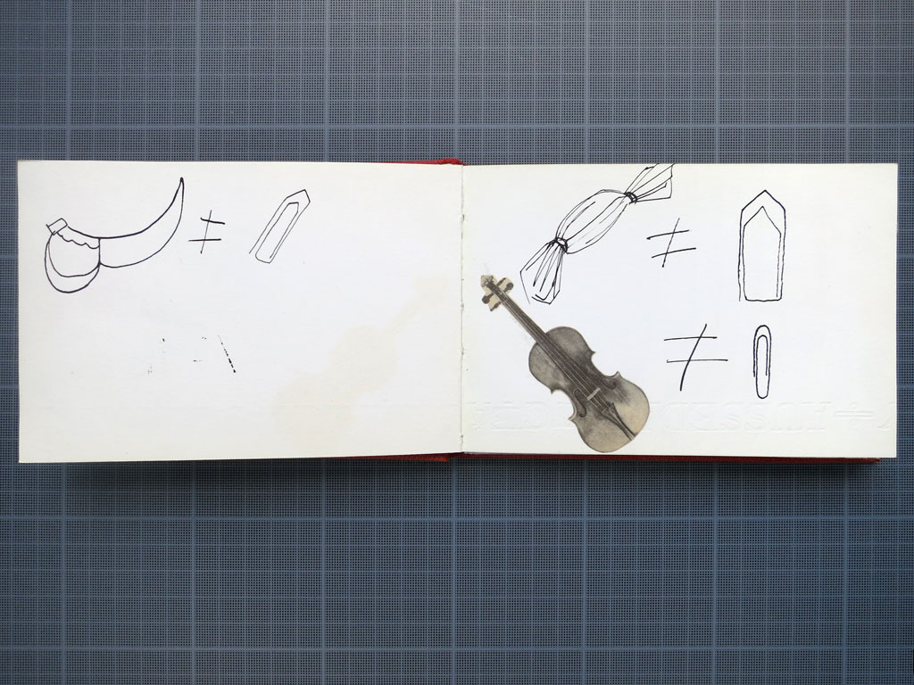 Claude Closky, 'Untitled (sabre, bonbon, violon)', 1983, India ink and collage on a sketch book spread, 10 x 34 cm.
