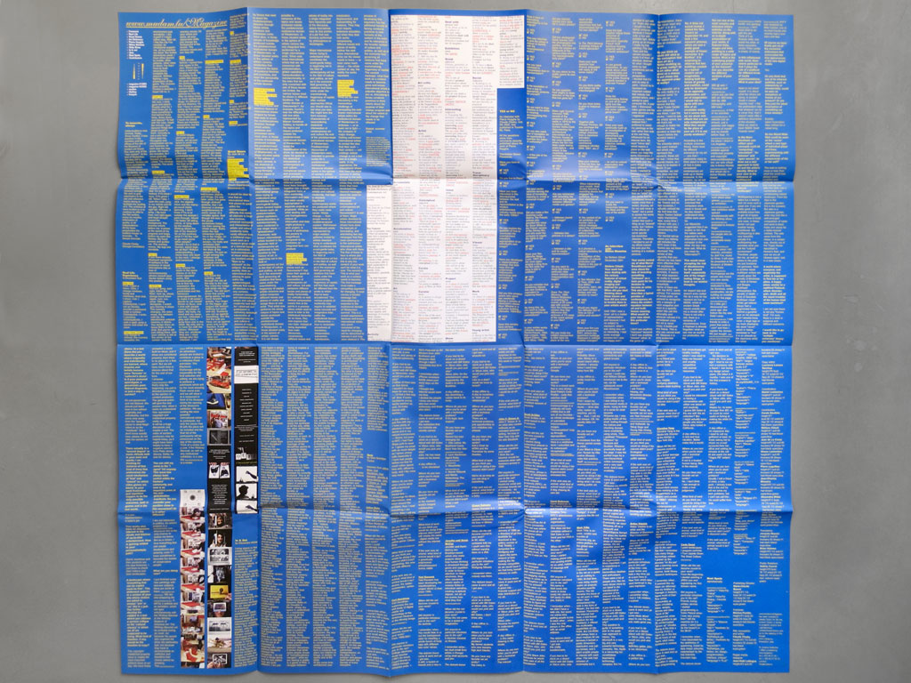 Claude Closky, 'www.mudam.lu/Magazine', 2002, September, Luxembourg: Mudam, color offset, 100 x 100  cm opened, 25 x 20 cm folded.