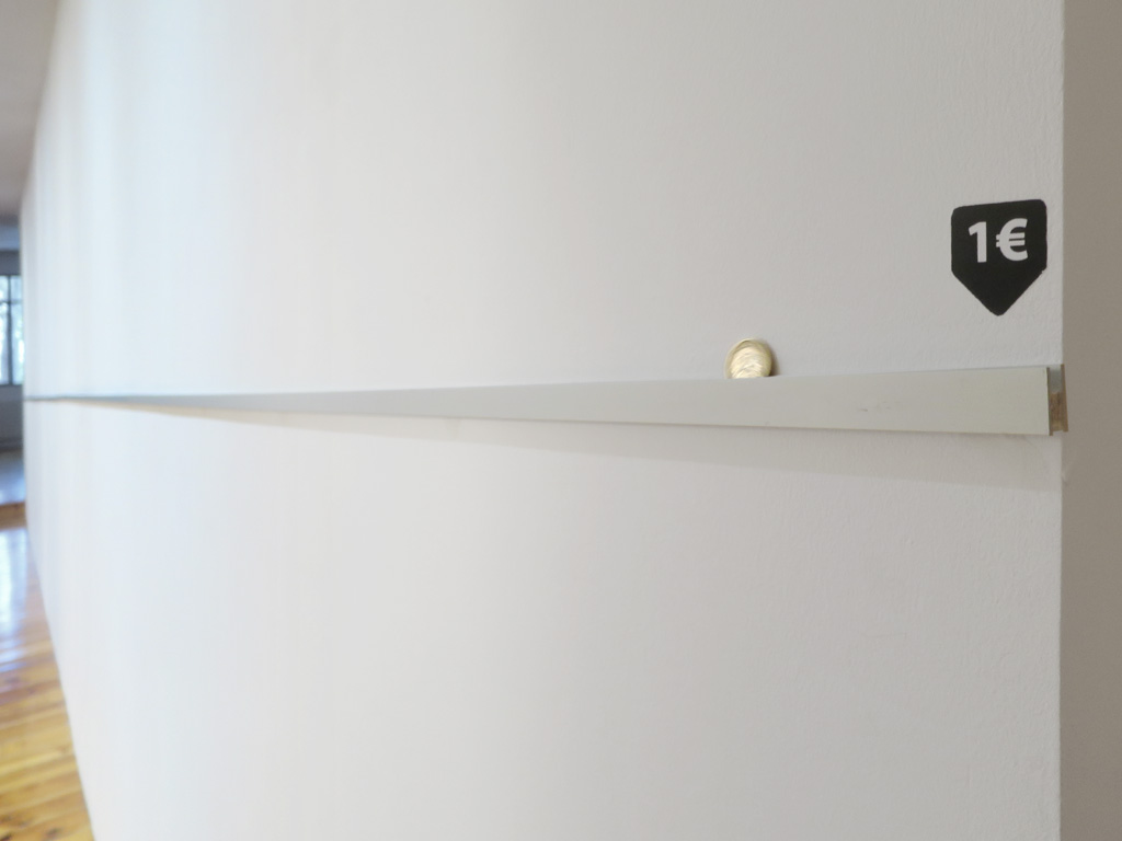 Claude Closky, '10 Centimeters Below,' 2017, aluminum, wood, 1 euro coin, approx. 10 cm x 10 meters .
