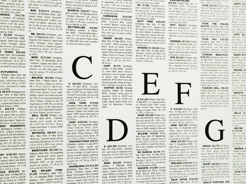 Claude Closky, 'Words of Value Dictionary,' 2011-2016, duplex black and white print, 80 x 60 cm.