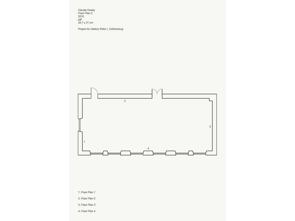 Claude Closky, 'Floor Plans', 2010, framed pdf file, 4 pages 29,7 x 21,5 cm each.