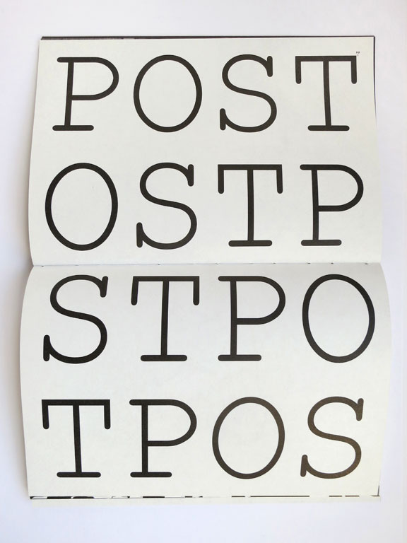 Claude Closky, 'Post-Ostp-Stpo-Tpos', 2011, Rennes: Lab (Libre Art Bitre), pp. 24-25.