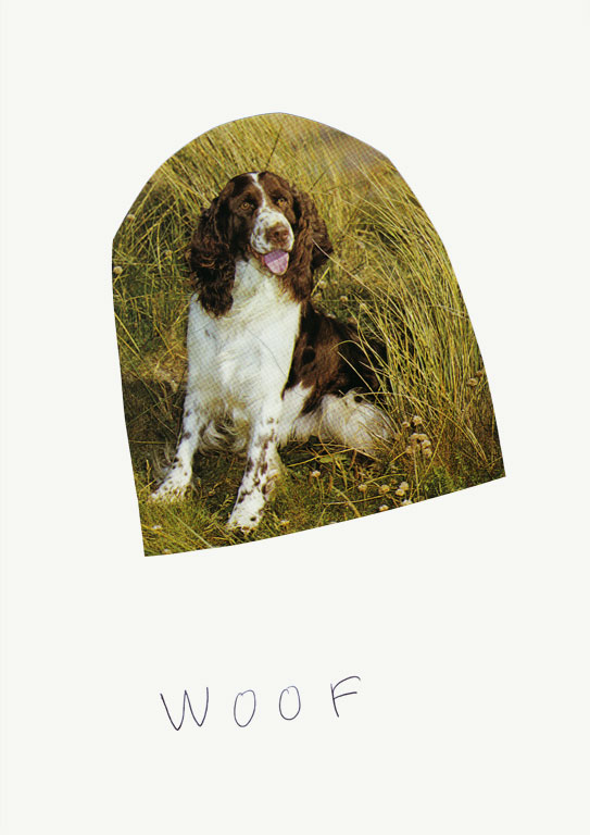Claude Closky, 'Woof (Buster)', 2012, collage and ball-point pen on paper, 30 x 21 cm.