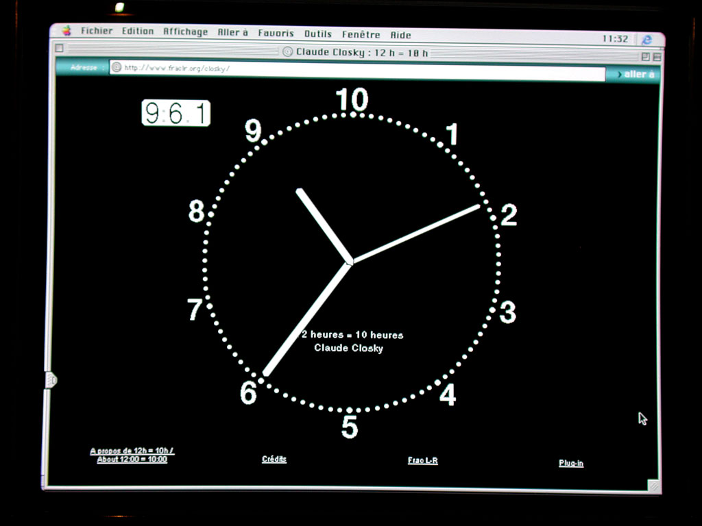 Claude Closky, '12 hours = 10 hours', 1994-1998, Shockwave (http://search.it.online.fr/mirror/ClaudeClosky/FracLR), unlimited duration.