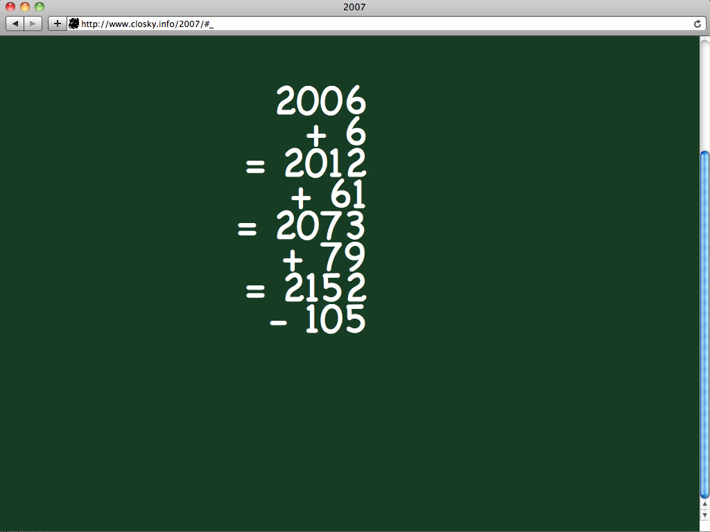Claude Closky, '2007', 2006, web site, Javascript (http://www.closky.info/2007).