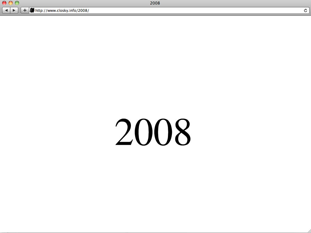 Claude Closky, '2008', 2007, web site, Flash (http://www.closky.info/2008).