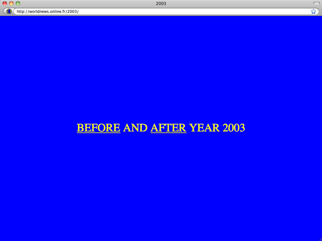 Claude Closky, 'Before and after 2003', 2002, interactive web site, Php (http://worldnews.online.fr/2003).