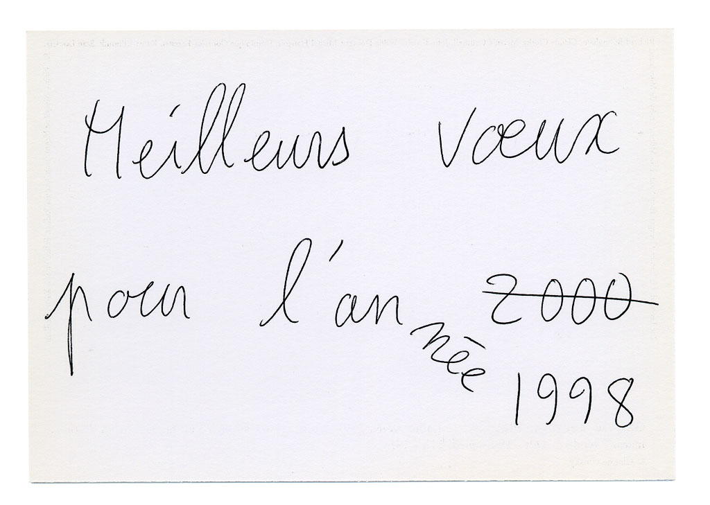 Claude Closky, 'Meilleurs vœux pour l'année 1998 [Best wishes for 1998]', 1997, new year greetings card. Paris: Galerie Jennifer Flay, black and white offset, 10,5 x 15 cm.