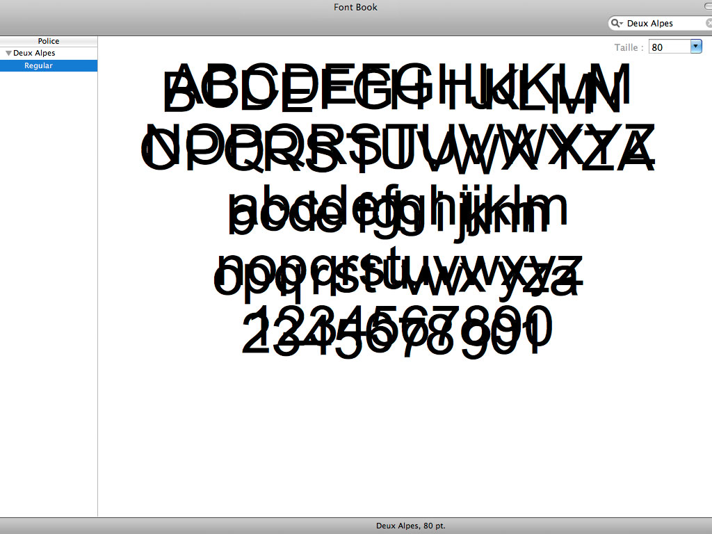 Claude Closky, 'Deux Alpes', 2000-, Postscript font (Mac & PC), Regular.