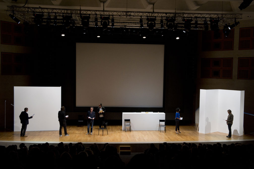 Claude Closky, 'Private View', 2006-2011, 9 actors, white walls, counter, 1 hour. Auditorium, Paris, 21 October 2011.