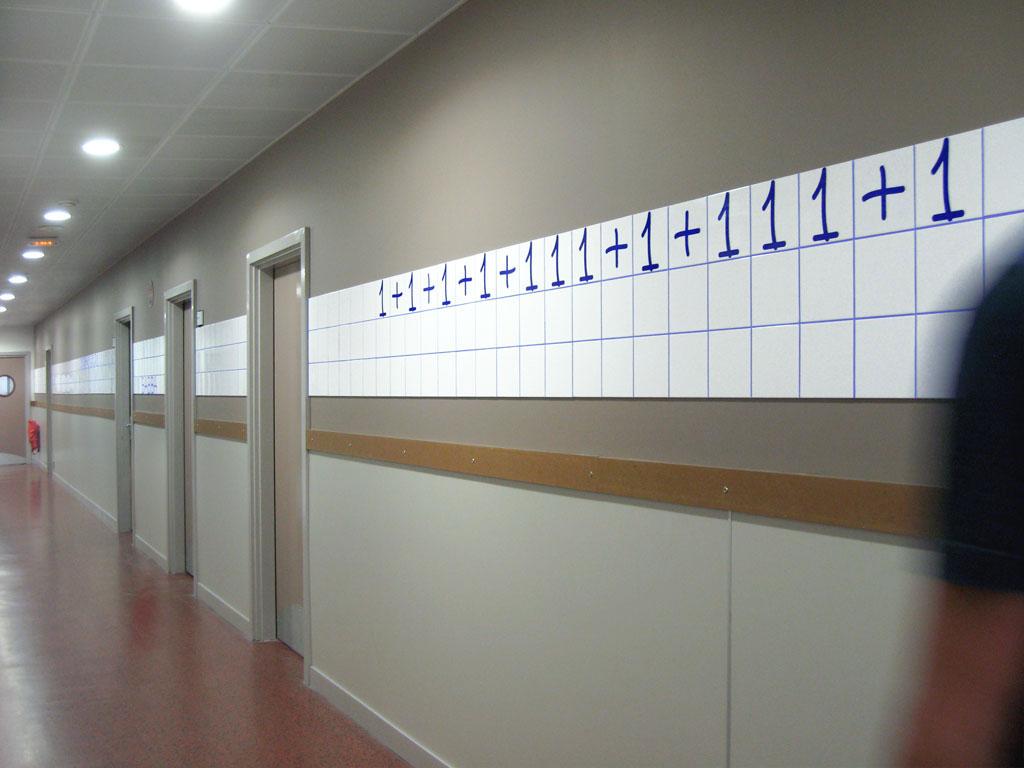 Claude Closky, '1, 11, 111,' 2007-2008, commission for Françoise Giroud secondary school, Vincennes. Earthenware tiles.