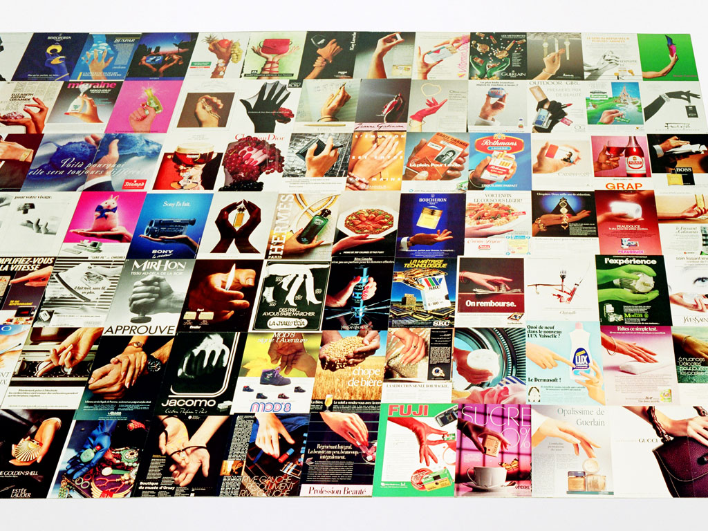 Claude Closky, '100 objects to carry by the hand', 1993, collage on aluminum, 200 x 330 cm. Installation view 'Point de mire', Centre Pompidou, Paris. 15 June - 22 August 1993. Curated by Jean de Loisy, Jean-Pierre Bordaz