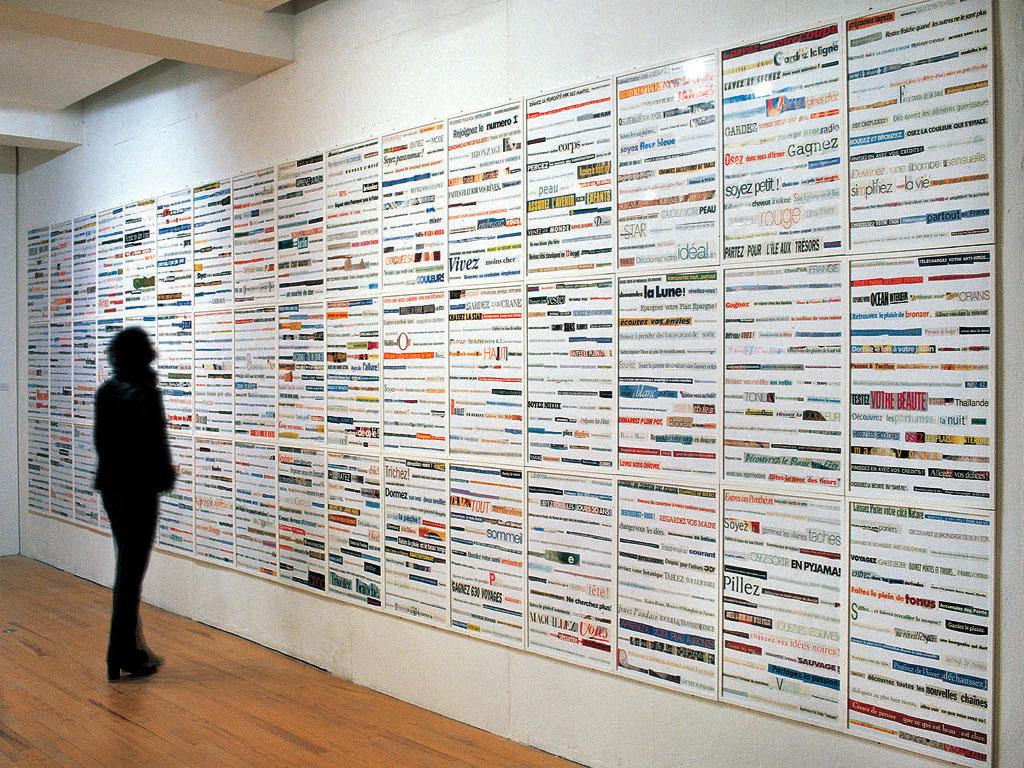 Claude Closky, '1000 choses à faire [A 1000 things to do] ', 1993-1994, collage, 216 x 1040 cm (60 frames 72 x 52 cm). Exhibition view 'Rue Louise Weiss', Abbaye Saint-André - Centre d'Art Contemporain, Meymac. 7 March - 20 June 1999