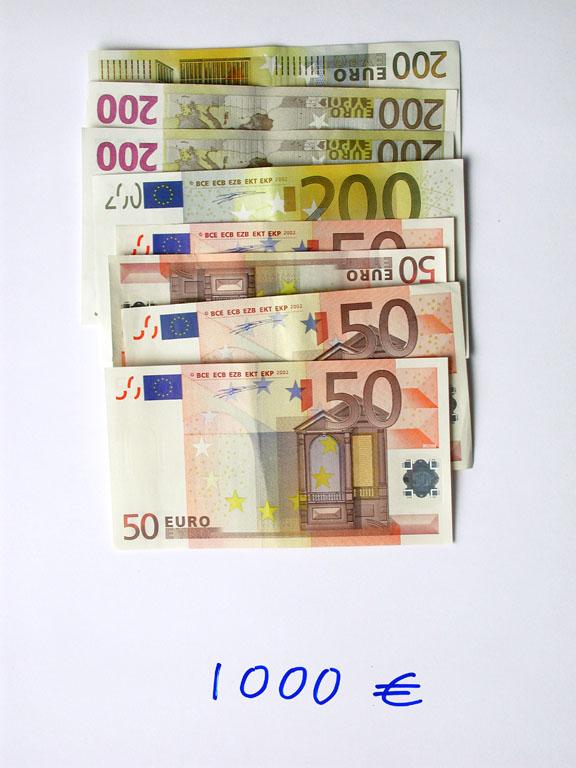 Claude Closky, '1,000 euros (4x200+4x50)', 2002, c-print, permanent felt-tip pen, 32 x 24 cm.