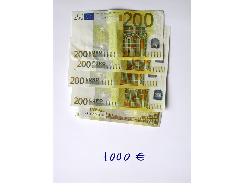 Claude Closky, '1,000 euros (5x200)', 2002, c-print, permanent felt-tip pen, 32 x 24 cm.