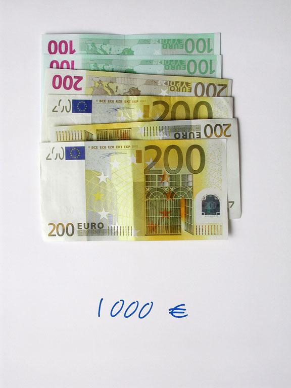Claude Closky, '1,000 euros (2x100+4x200)', 2002, c-print, permanent felt-tip pen, 32 x 24 cm.